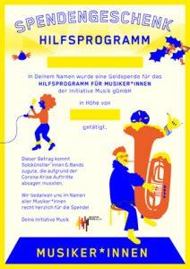 Beschreibbares PDF Spendengeschenk Hilfsprogramm für Musiker*innen
